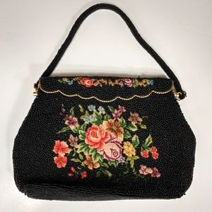 Vintage black beaded floral evening bag